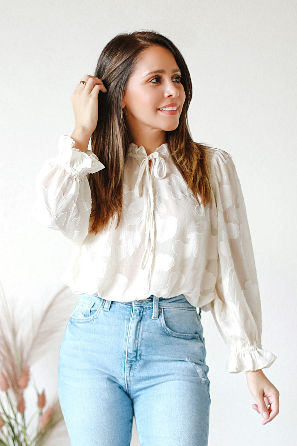 Darla Ivory Sheer Floral Top