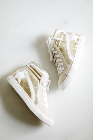 Gold Metallic Star High Top Sneakers