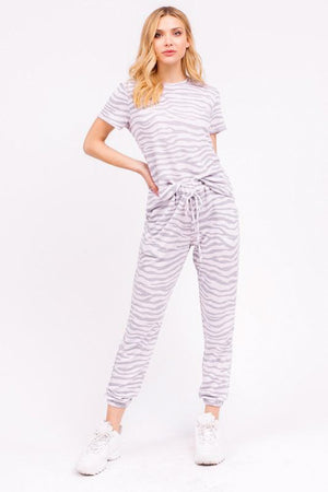 Ellie Grey Zebra Lounge Set