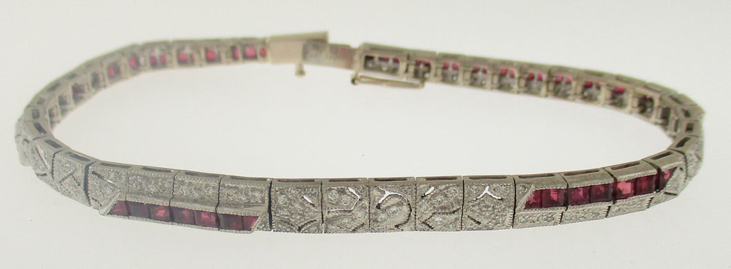 Vintage Ruby and Diamond Bracelet in 18k White Gold
