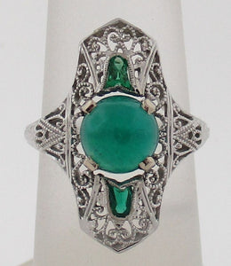 Antique Cabochon Emerald Filigree Ring in 18kt White Gold