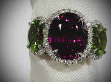 Load and play video in Gallery viewer, 18kwg Garnet, Peridot, and Diamond Ring