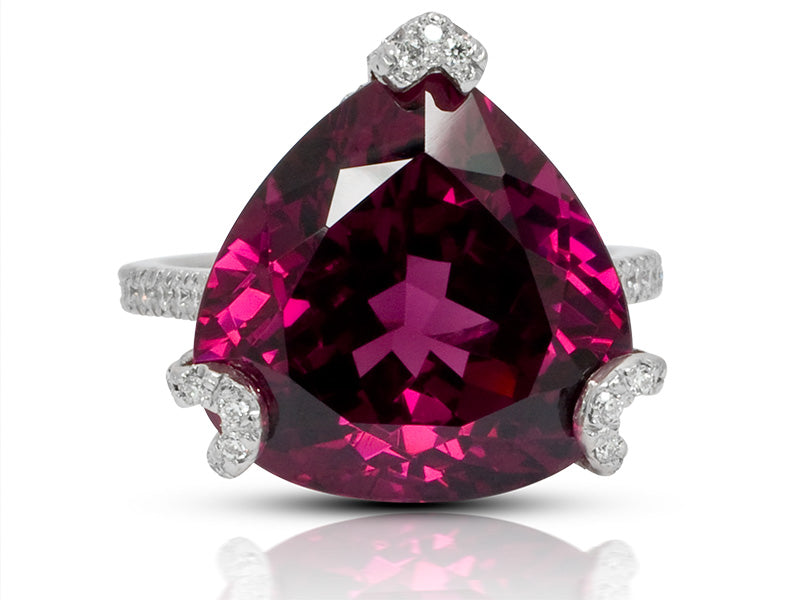 Distinctive Handmade Triangle Shaped Rhodolite Garnet Ring with Diamonds