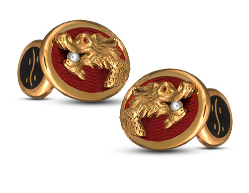 David Oscarson Black Water Dragon Cuff Links in Sterling Silver with Gold Vermeil