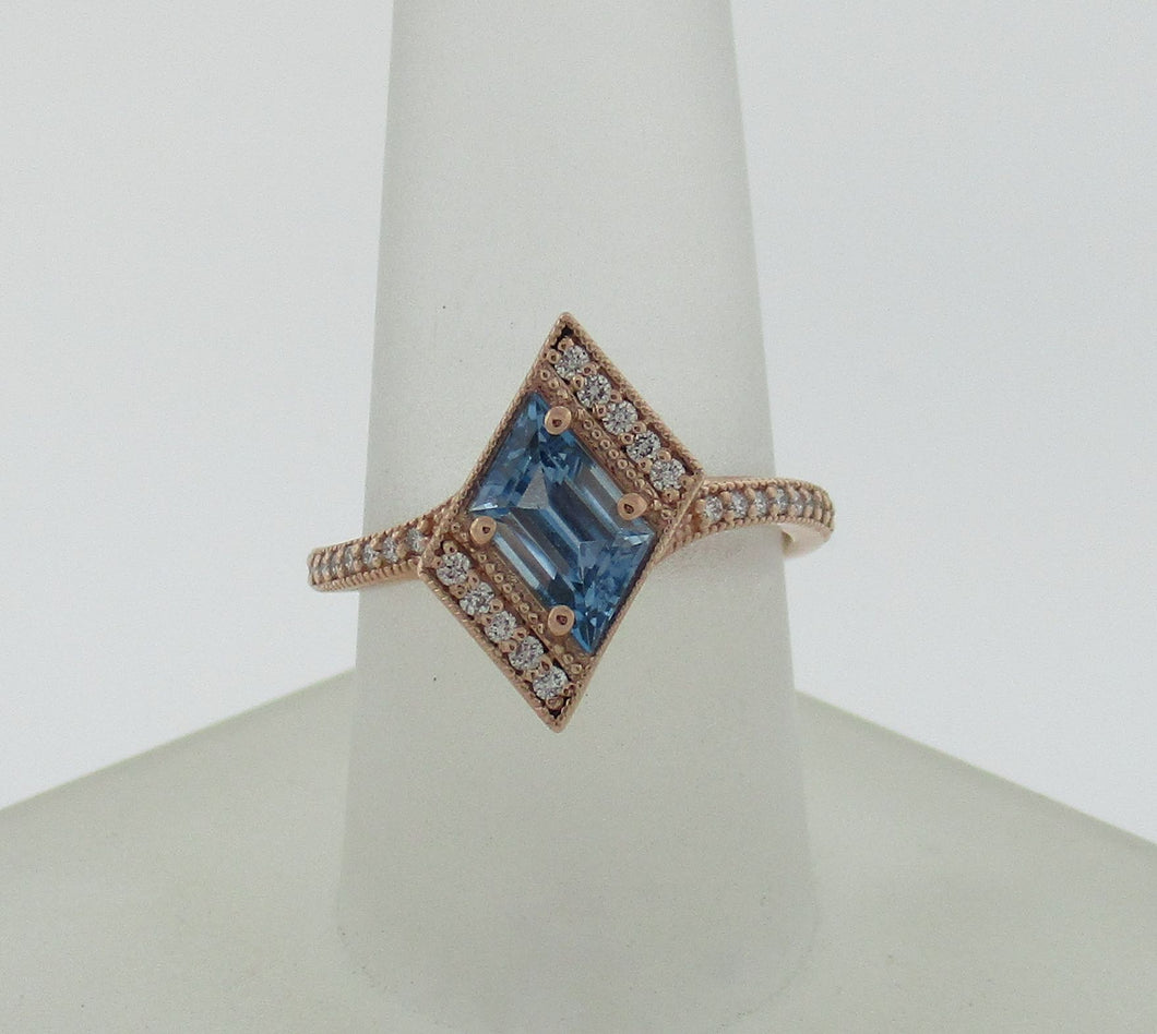 Vintage Rhomboid Aquamarine Rose Gold Diamond Ring