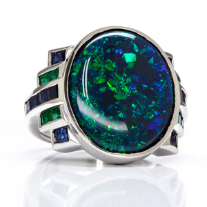 Deco Style Black Opal, Emerald, and Sapphire Ring