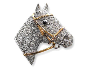 Handmade Platinum Diamond Horse Brooch with 18k Yellow Gold Bridal
