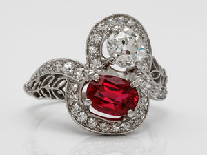 Antique Platinum Diamond and Spinel Two Stone Bypass Ring