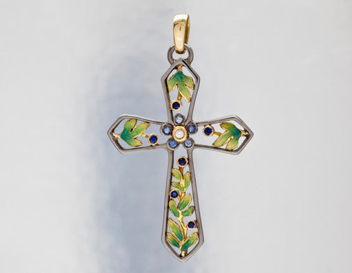 Nouveau 1910 Organic Sapphire, Diamond, and Enamel Cross Pendant