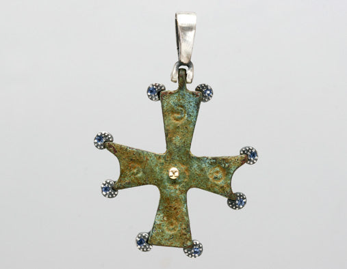 Nouveau 1910 Byzantine Cross with Sapphires
