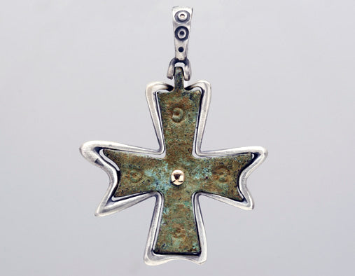 Nouveau 1910 Byzantine Cross Pendant in Sterling Silver and 18k Yellow Gold