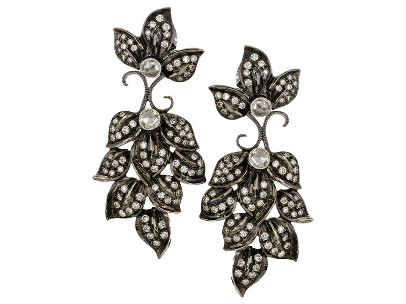 Black Rhodium Diamond Flower Earrings
