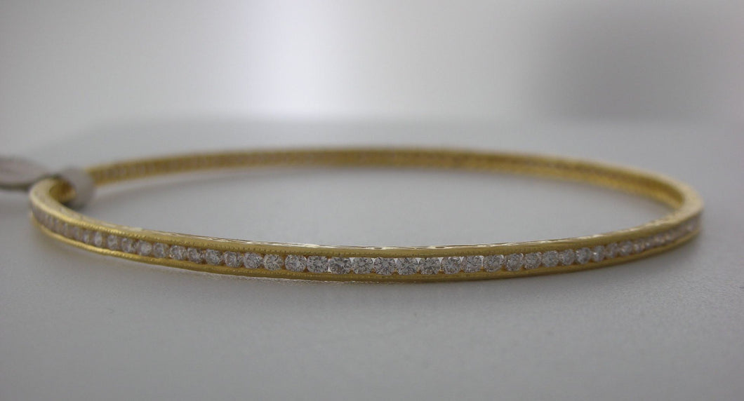 18k Yellow Gold Channel Set Diamond Bangle Bracelet