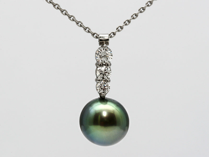 Peacock Pearl and Diamond Pendant in Platinum