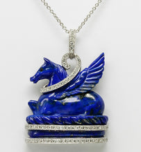 Load image into Gallery viewer, StoryBook Diamond and Lapis Pegasus Pendant in Platinum