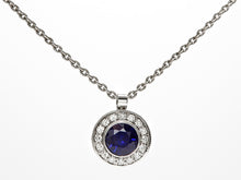 Load image into Gallery viewer, Platinum Sapphire and Diamond Halo Pendant