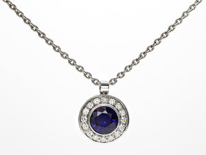 Platinum Sapphire and Diamond Halo Pendant