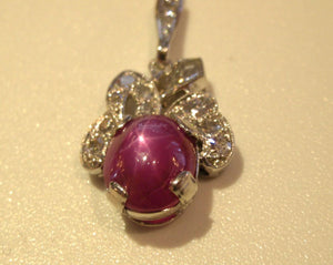 Antique Star Ruby and Diamond Pendant in Platinum