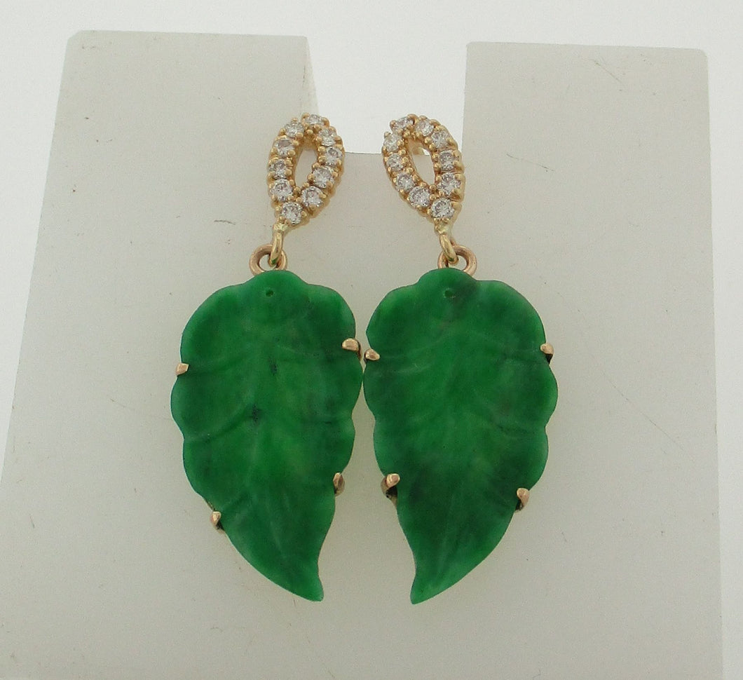 Vintage Jadeite and Diamond Leaf Yellow Gold Earrings