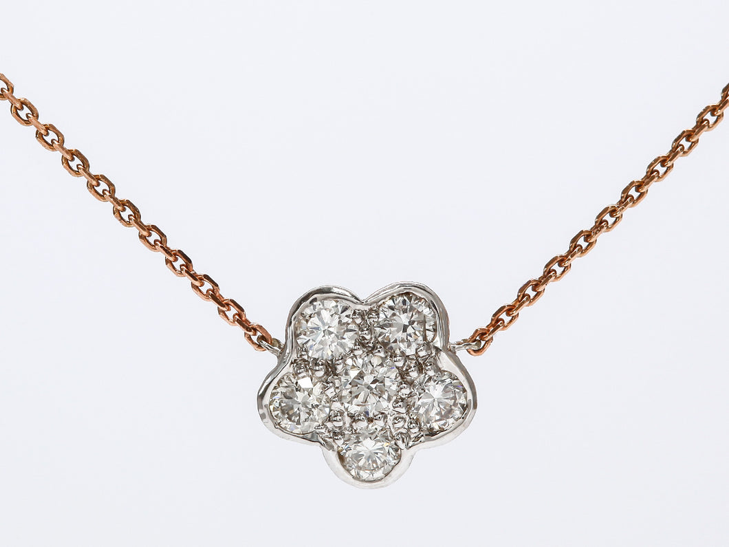 Dainty and Delicate Flower Diamond Necklace