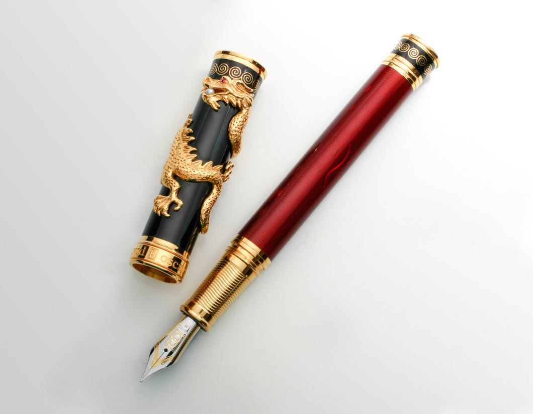 David Oscarson Black Water Dragon Limited Edition Fountain Pen in Sterling Silver