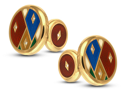 David Oscarson Harlequin Cuff Links in Sterling Silver with Gold Vermeil