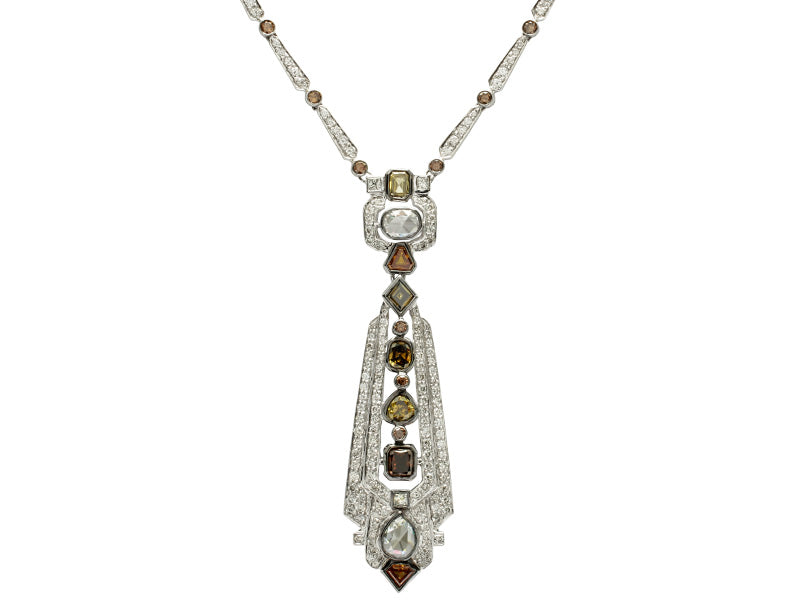 Natural Fancy Color Diamond Vintage Necklace