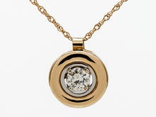 Load image into Gallery viewer, 18k Two-Tone Gold Diamond in a Bezel Pendant