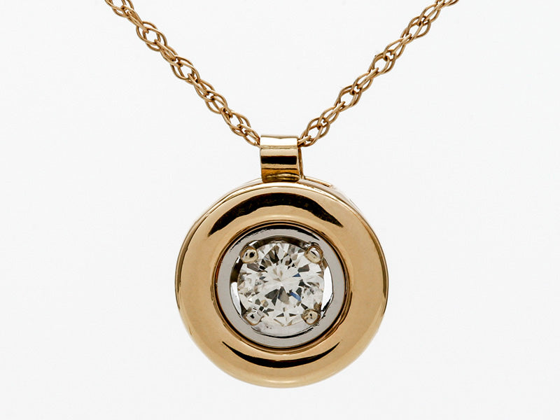 18k Two-Tone Gold Diamond in a Bezel Pendant