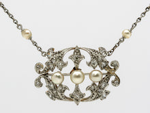 Load image into Gallery viewer, Antique Natural Pearl and Diamond Platinum Fleur de Lis Necklace