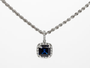 Briiliant Blue Square Sapphire and Diamond Halo Pendant