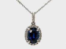Load image into Gallery viewer, Vibrant Blue Oval Sapphire and Diamond Halo Pendant