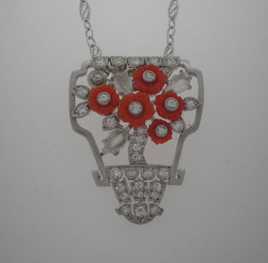 Antique Art Deco Coral and Diamond Bouquet Necklace in Platinum