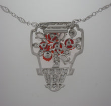 Load image into Gallery viewer, Antique Art Deco Coral and Diamond Bouquet Necklace in Platinum
