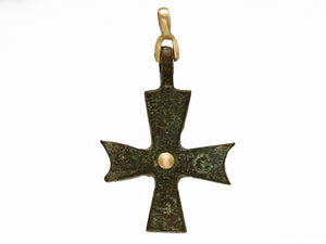 Nouveau 1910 Byzantine Cross Pendant with 18k Yellow Gold and Sterling Silver Back