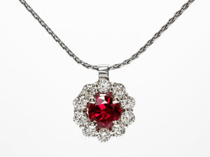 Bright Red Ruby and Diamond Pendant