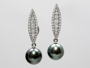 Black Tahitian Pearl and Diamond Convertible Earrings