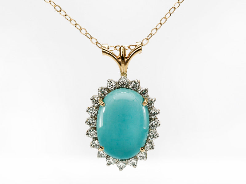 Robin's Egg Blue Turquoise and Diamond Pendant