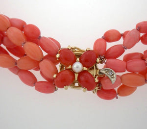 Vintage Coral Braided Bead Necklace