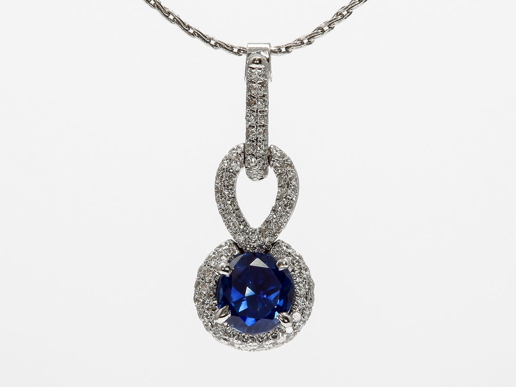 Pavé Diamond and Round Sapphire Pendant in 18k White Gold