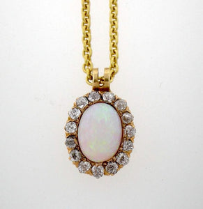 Antique 18k Yellow Gold Opal and Diamond Pendant