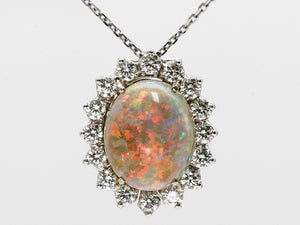 Black Opal and Diamond Pendant in Platinum