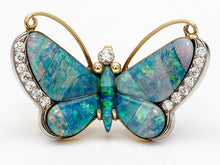 Load image into Gallery viewer, Handmade Opal and Diamond Butterfly Brooch/Pendant