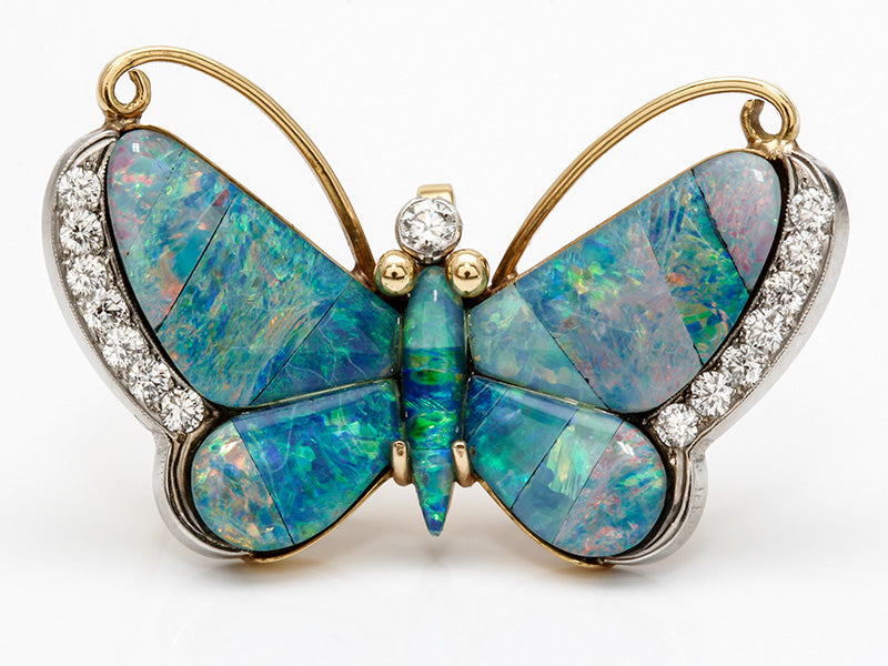 Handmade Opal and Diamond Butterfly Brooch/Pendant
