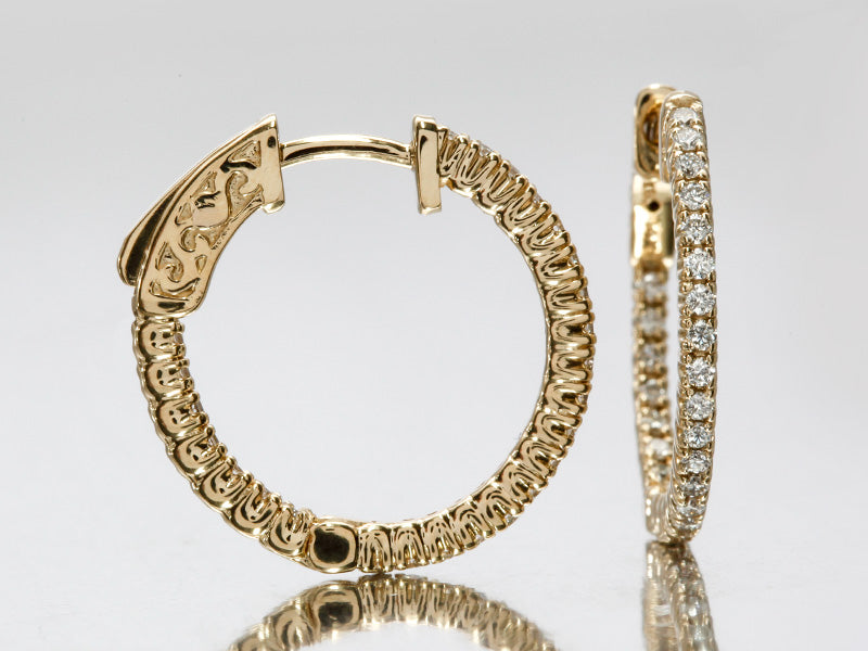 Dazzling Diamond Hoops in 14k Yellow Gold