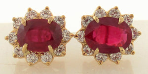 Handmade Classic Burma Ruby and Diamond Earrings