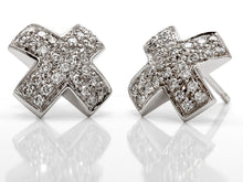 "Load image into Gallery viewer, Pavé Set Diamond ""X"" Earrings in 18k White Gold"