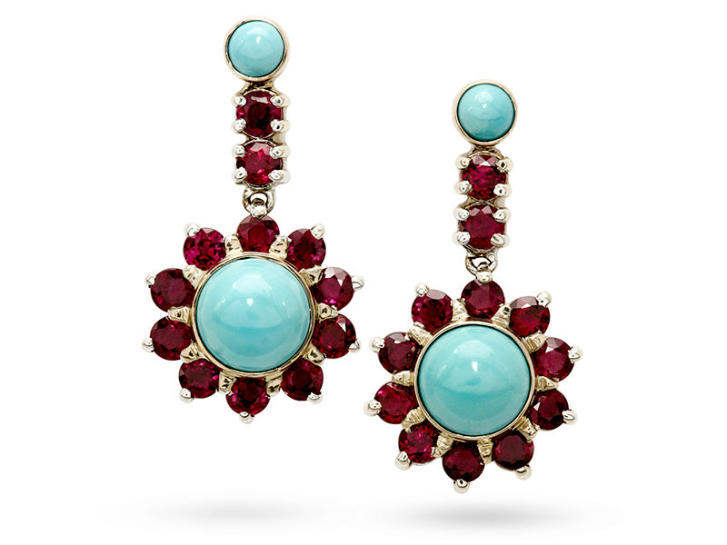 Beautiful Handmade Turquoise and Ruby Drop Earrings