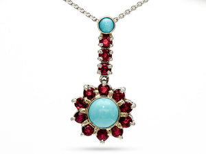 Handmade Turquiose and Ruby Pendant