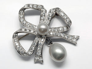 Handmade Platinum Pearl and Diamond Bow Brooch/Pendant